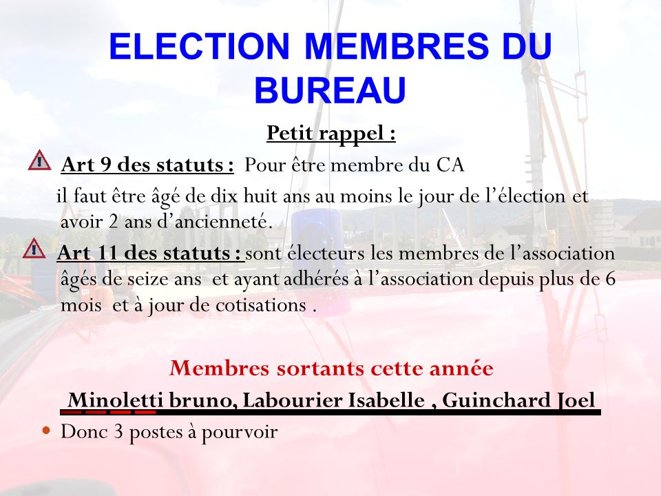 ELECTION MEMBRES DU BUREAU