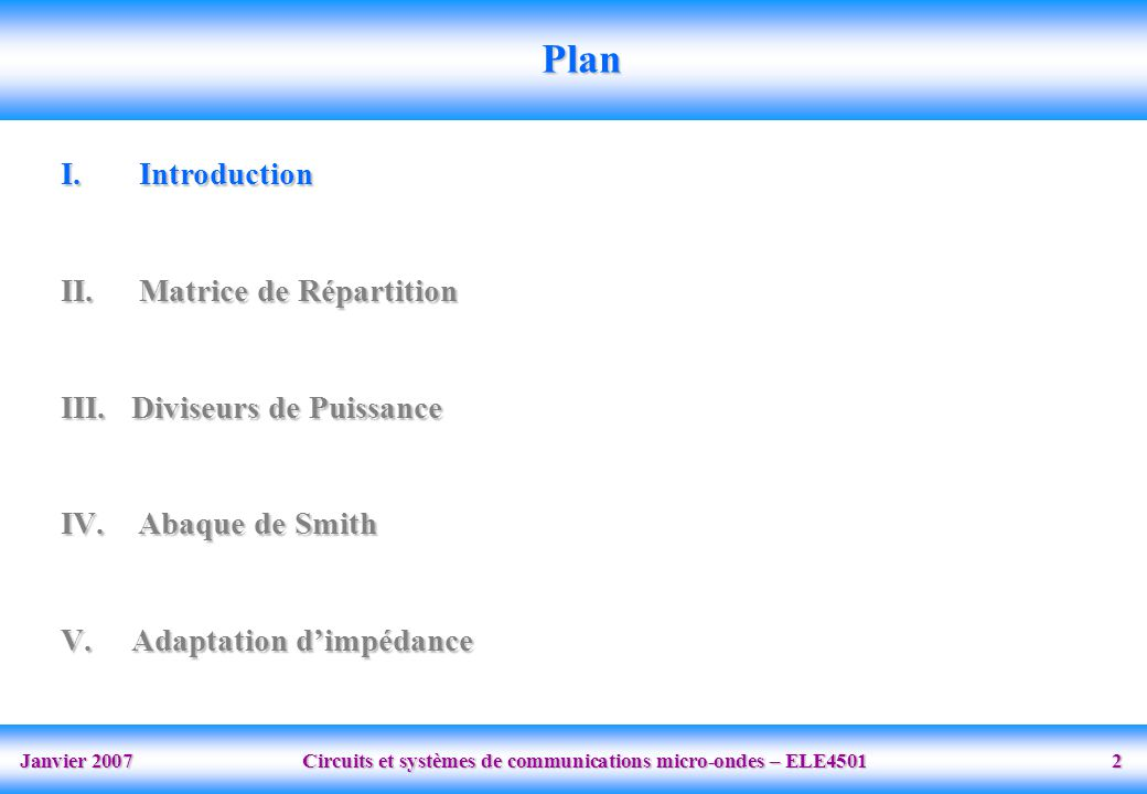 Plan Introduction Matrice de Répartition Diviseurs de Puissance