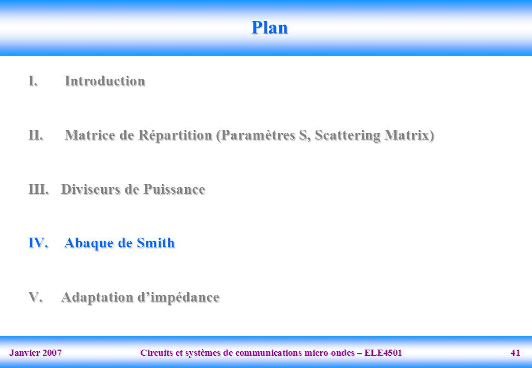 Plan Introduction. Matrice de Répartition (Paramètres S, Scattering Matrix) Diviseurs de Puissance.