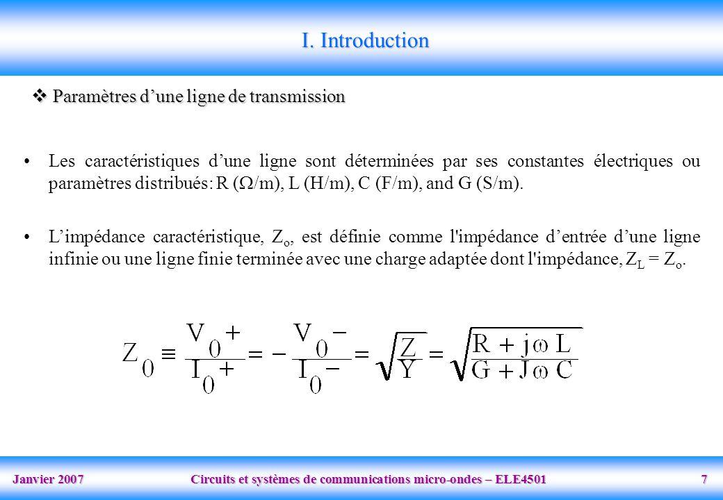 I. Introduction Paramètres d'une ligne de transmission