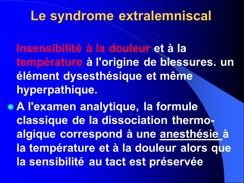 Le syndrome extralemniscal