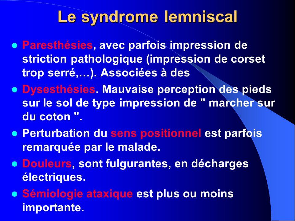 Le syndrome lemniscal Paresthésies, avec parfois impression de striction pathologique (impression de corset trop serré,…). Associées à des.