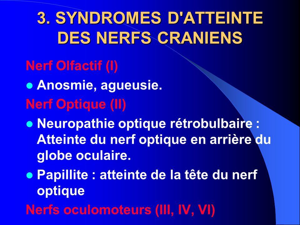 3. SYNDROMES D ATTEINTE DES NERFS CRANIENS