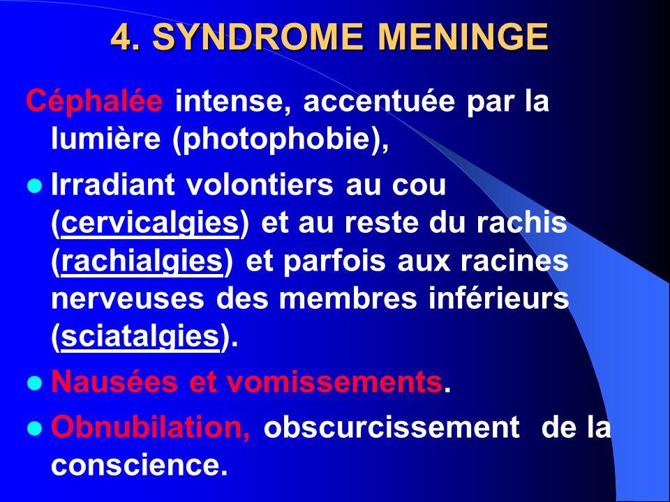 4. SYNDROME MENINGE Céphalée intense, accentuée par la lumière (photophobie),