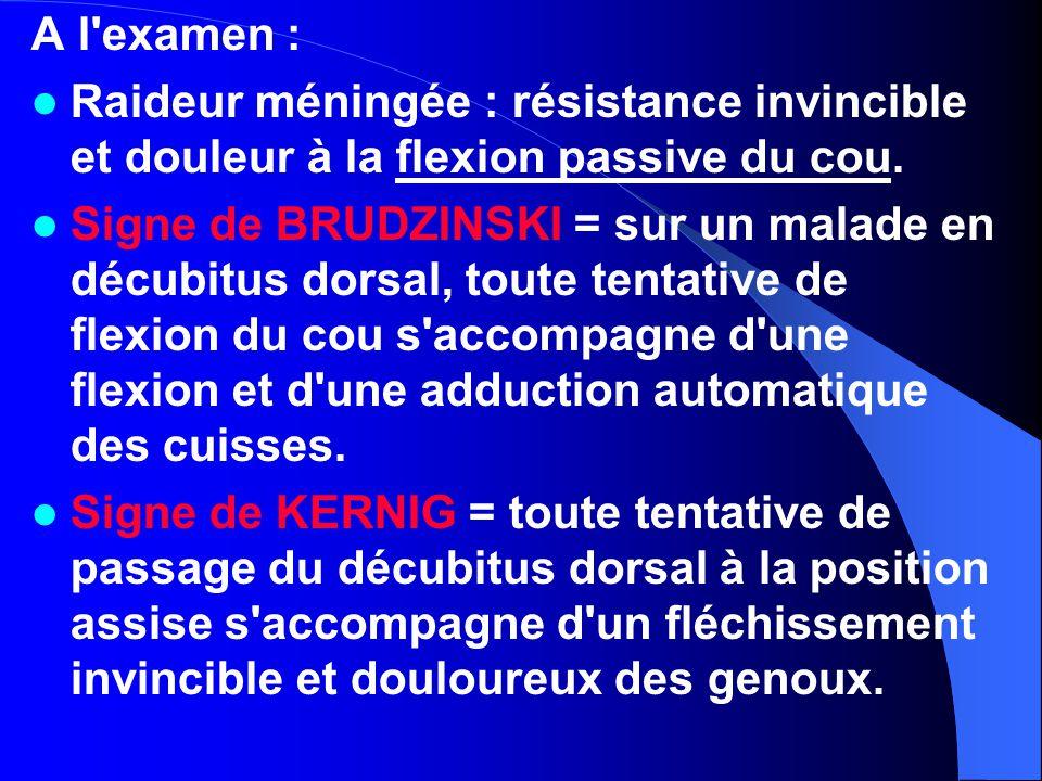 A l examen : Raideur méningée : résistance invincible et douleur à la flexion passive du cou.