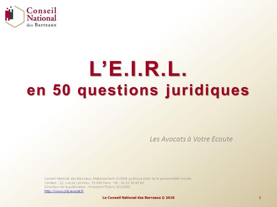 L'E.I.R.L. en 50 questions juridiques