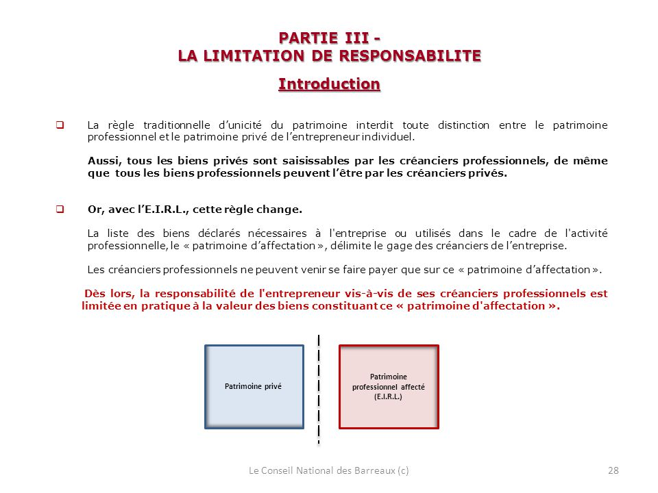 PARTIE III - LA LIMITATION DE RESPONSABILITE Introduction