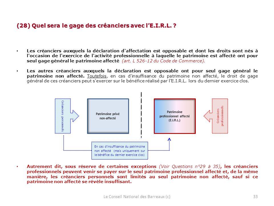 (28) Quel sera le gage des créanciers avec l'E.I.R.L.