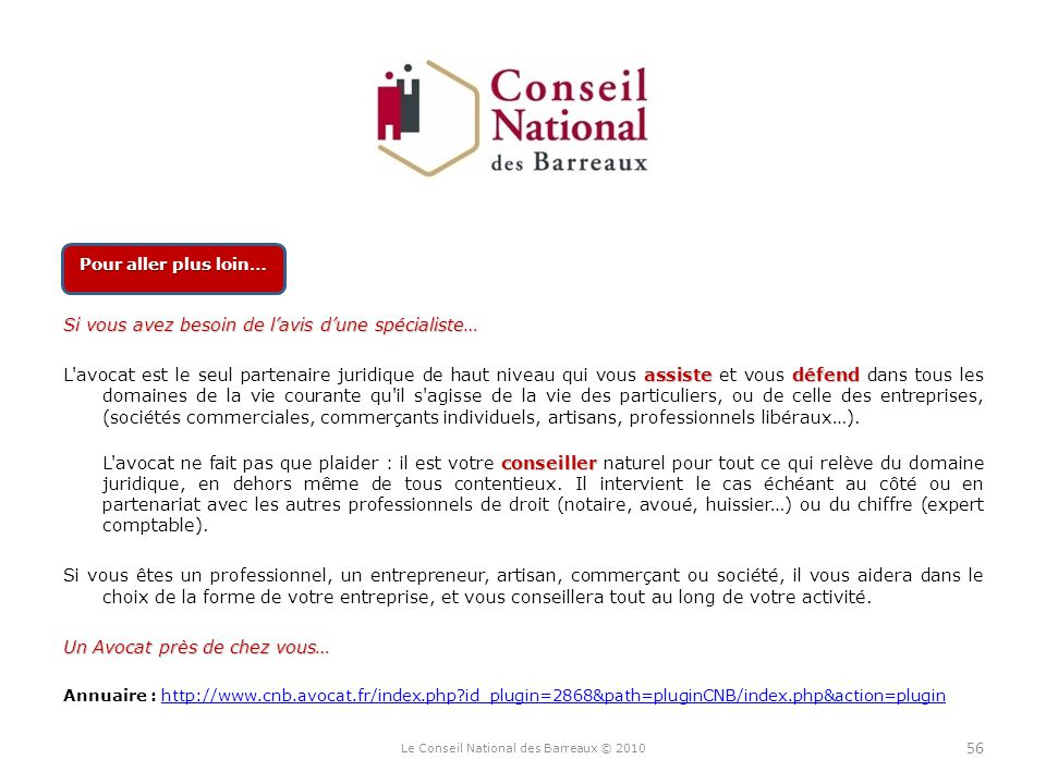 Le Conseil National des Barreaux © 2010