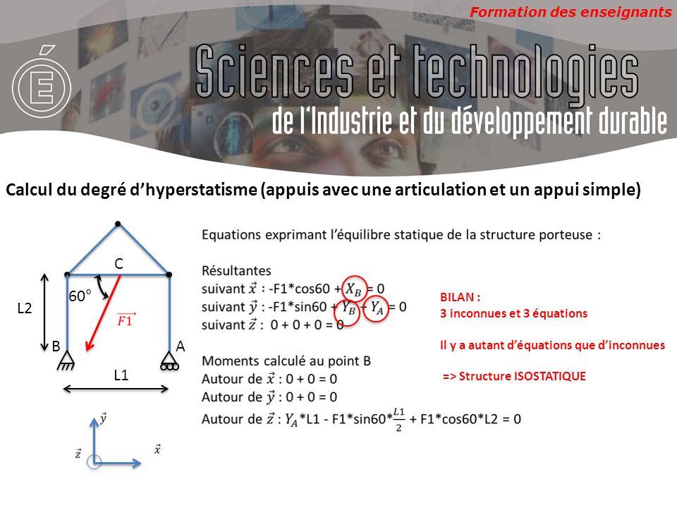 Calcul du degré d'hyperstatisme (appuis avec une articulation et un appui simple)