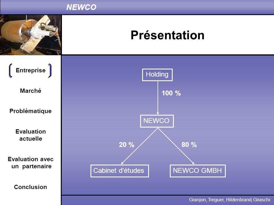 Présentation Holding 100 % NEWCO 20 % 80 % Cabinet d'études NEWCO GMBH