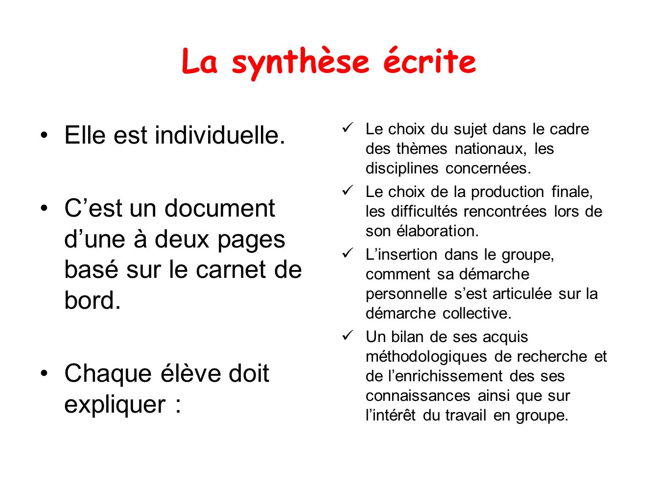 La synthèse écrite Elle est individuelle.