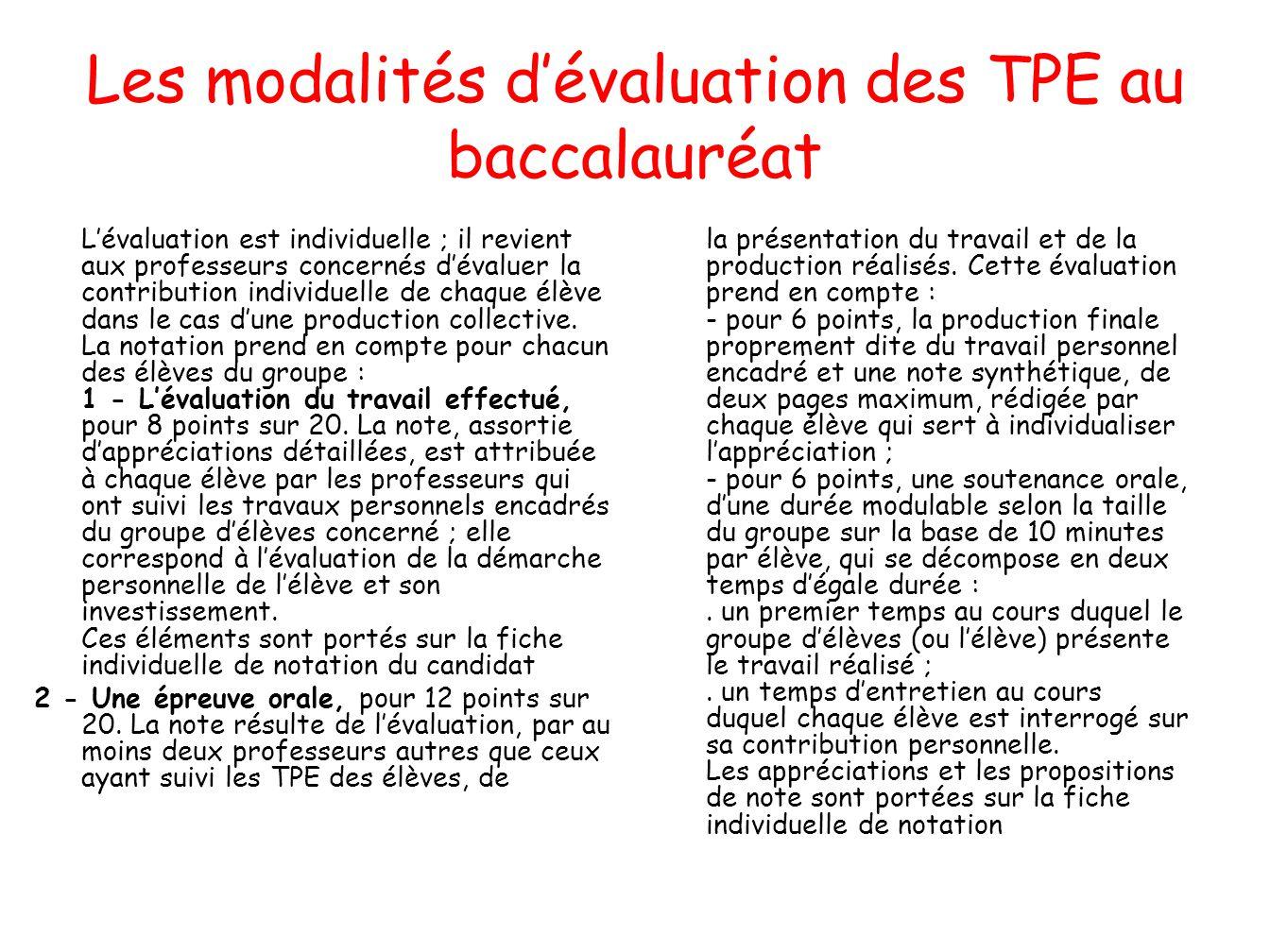Les modalités d'évaluation des TPE au baccalauréat