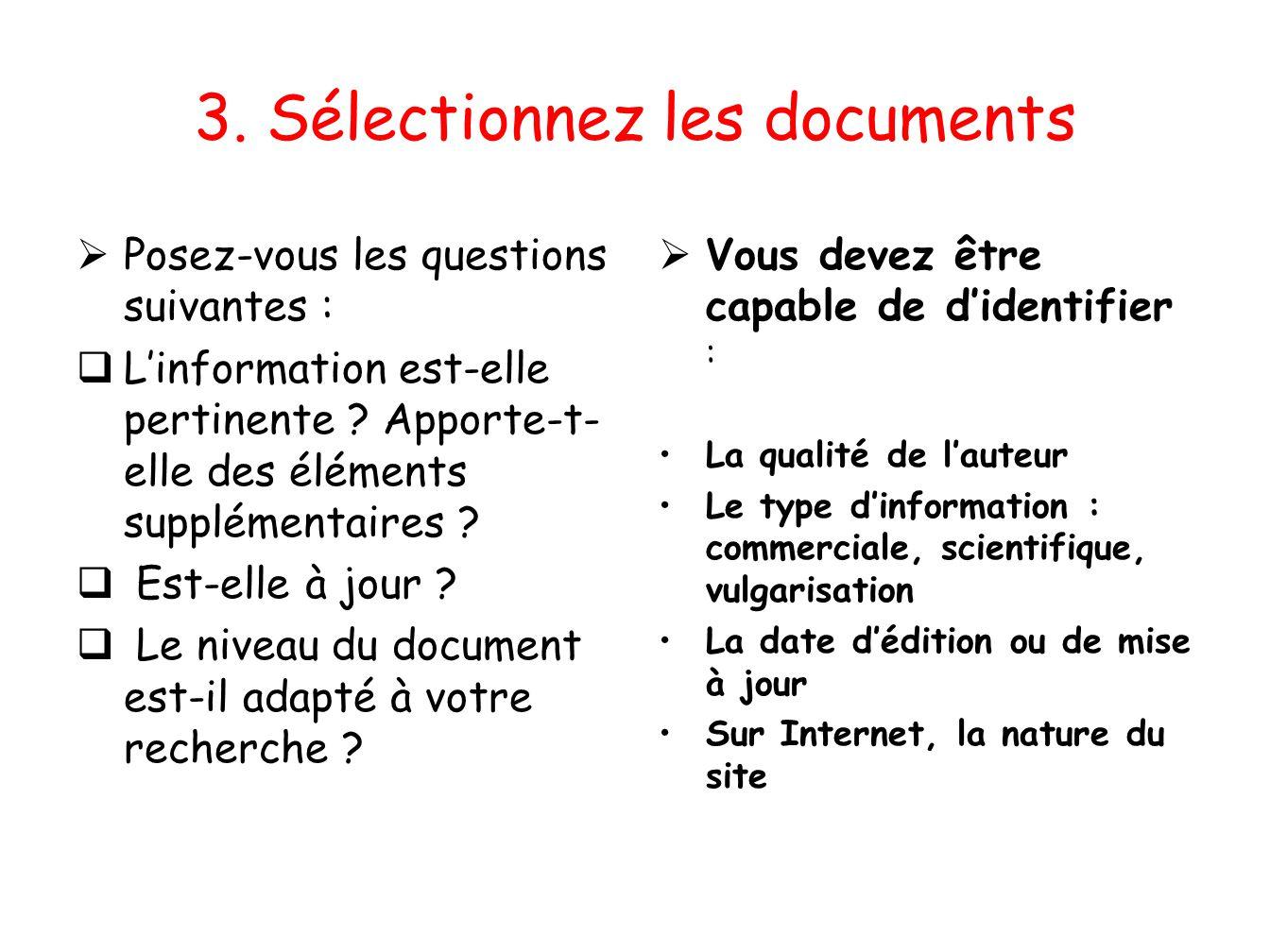 3. Sélectionnez les documents