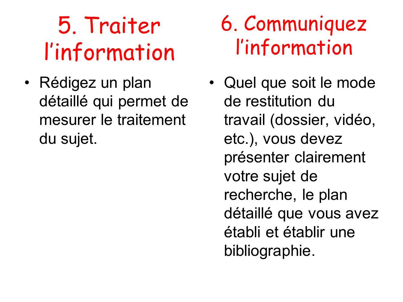 6. Communiquez l'information