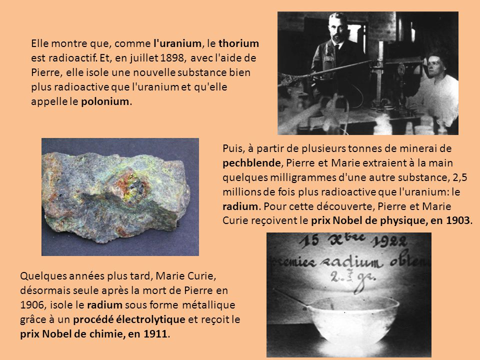 Elle montre que, comme l uranium, le thorium est radioactif