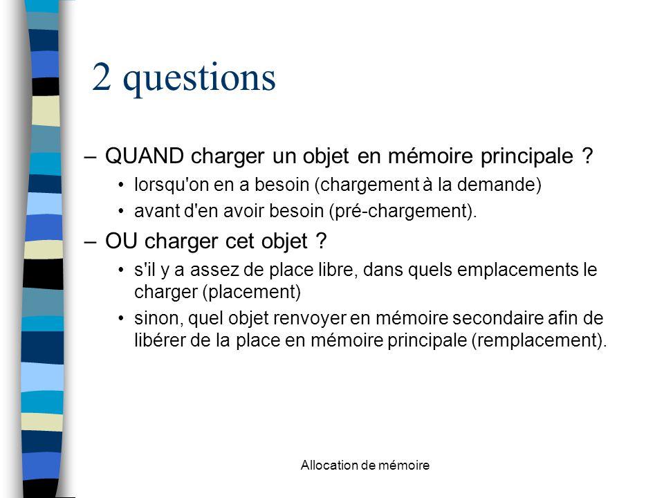 2 questions QUAND charger un objet en mémoire principale