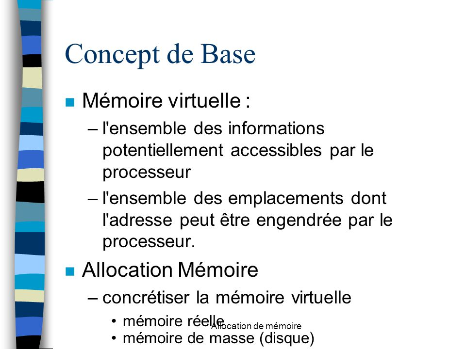 Concept de Base Mémoire virtuelle : Allocation Mémoire