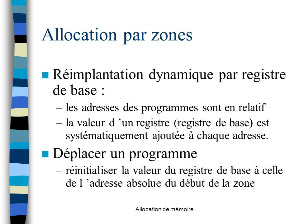 Allocation par zones Réimplantation dynamique par registre de base :