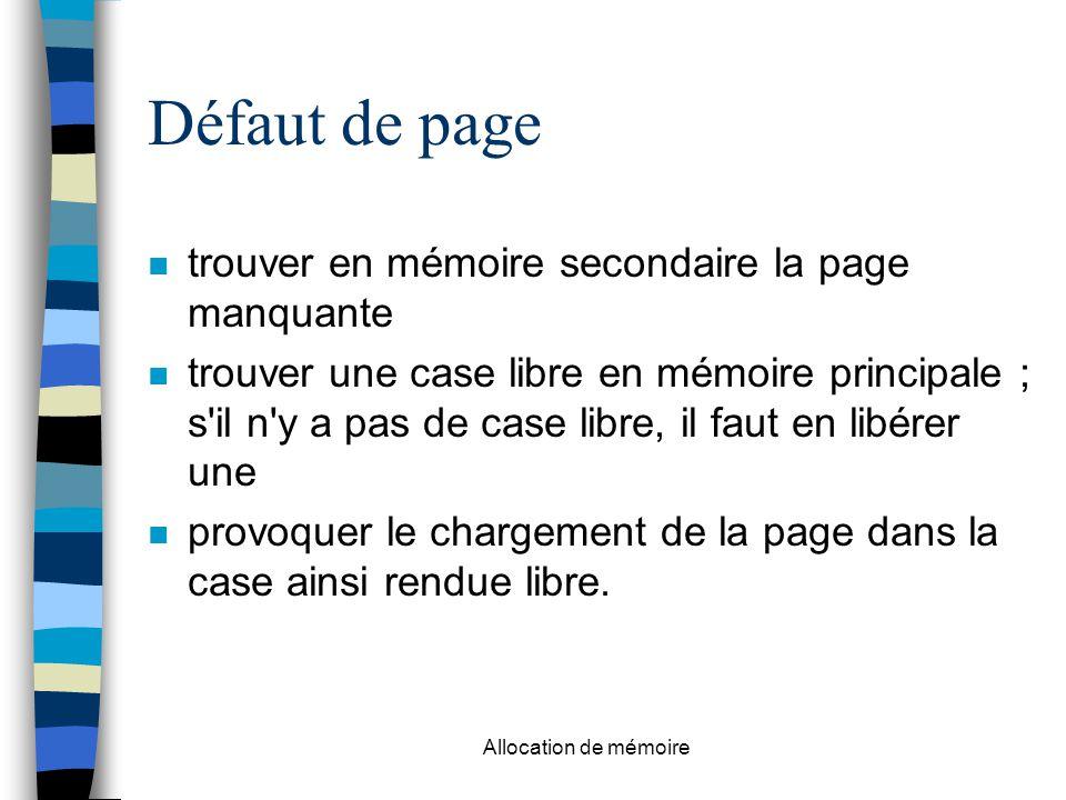 Défaut de page trouver en mémoire secondaire la page manquante