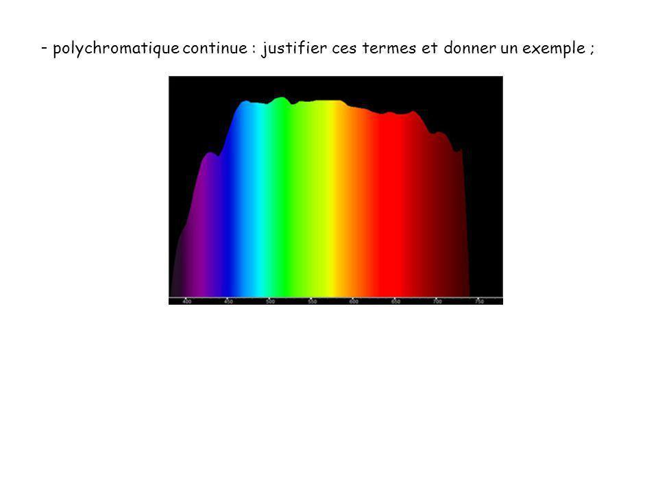 polychromatique continue : justifier ces termes et donner un exemple ;