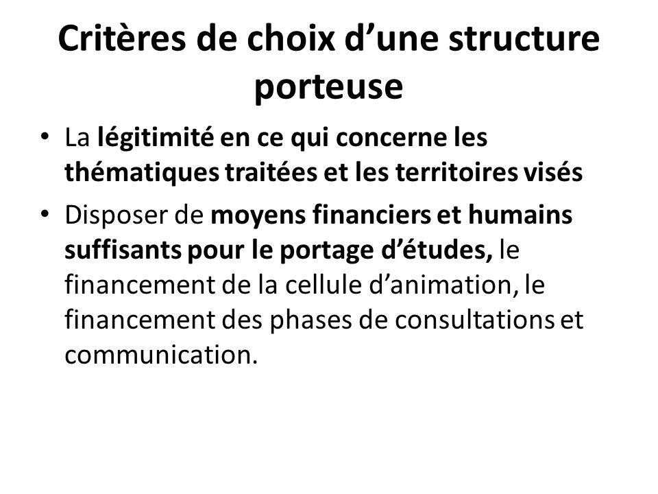 Critères de choix d'une structure porteuse