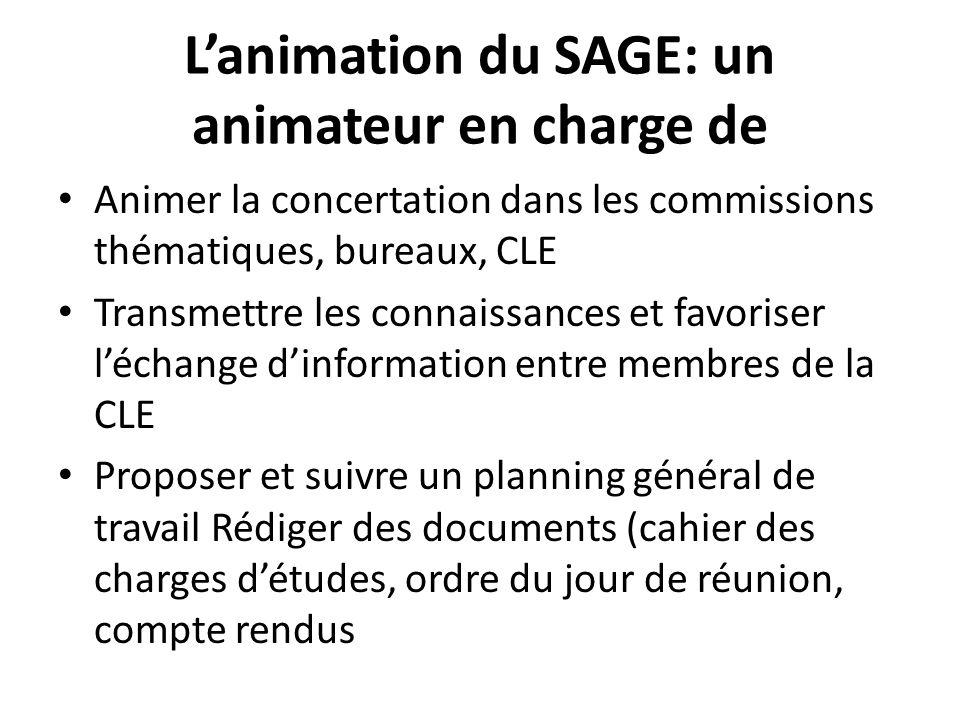 L'animation du SAGE: un animateur en charge de