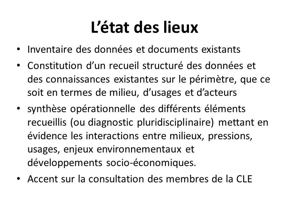 L'état des lieux Inventaire des données et documents existants