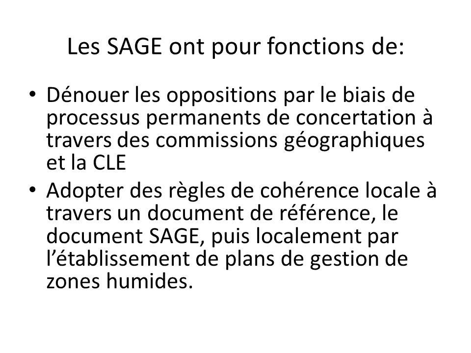 Les SAGE ont pour fonctions de: