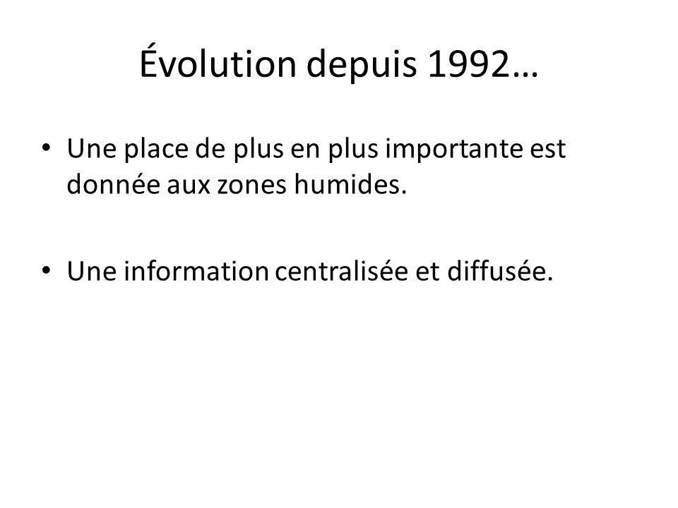 Évolution depuis 1992… Une place de plus en plus importante est donnée aux zones humides.