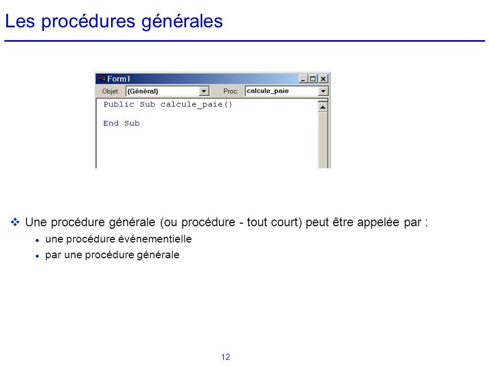 Les procédures générales