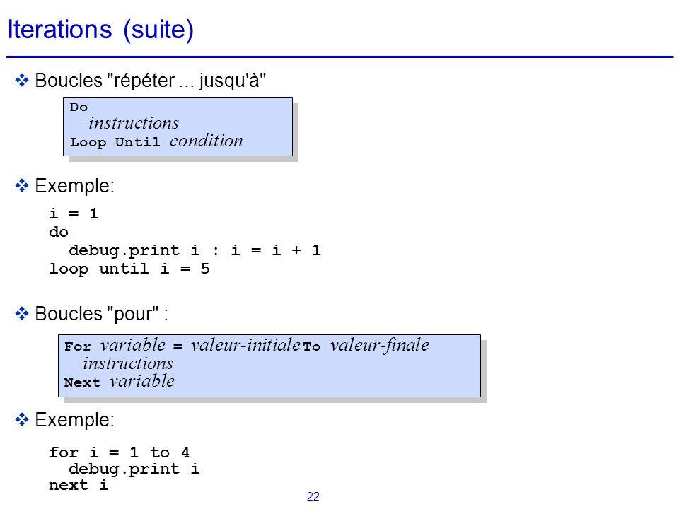 Iterations (suite) Boucles répéter ... jusqu à Exemple: