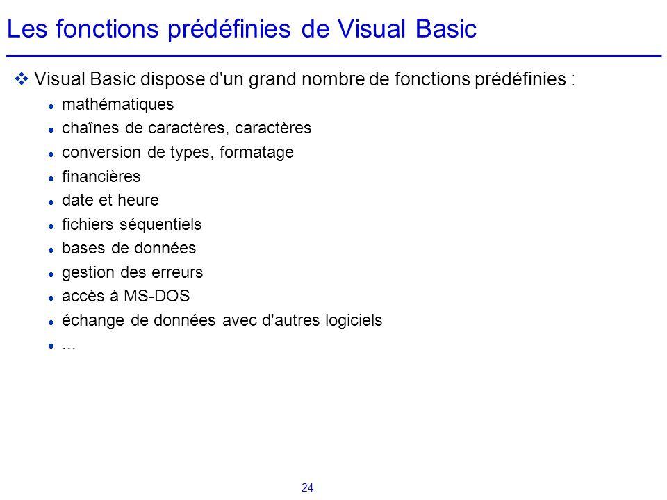 Les fonctions prédéfinies de Visual Basic