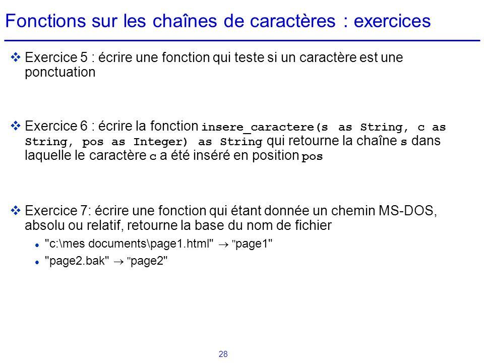 Fonctions sur les chaînes de caractères : exercices