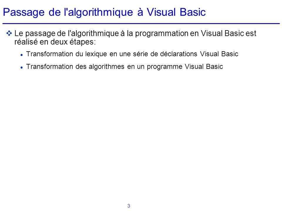Passage de l algorithmique à Visual Basic