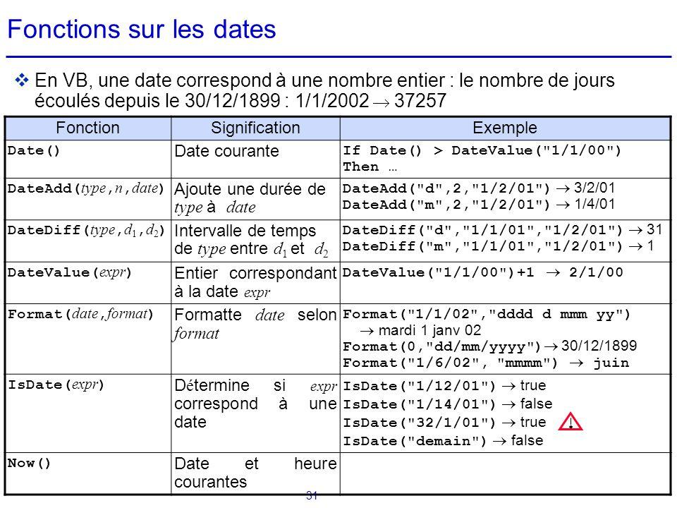 Fonctions sur les dates
