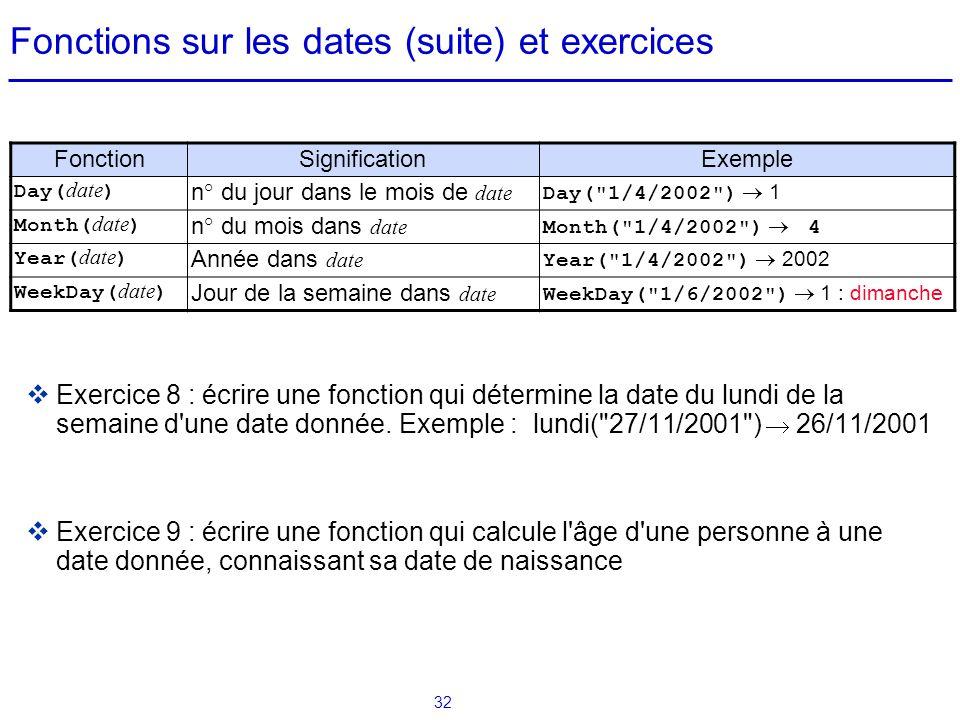 Fonctions sur les dates (suite) et exercices
