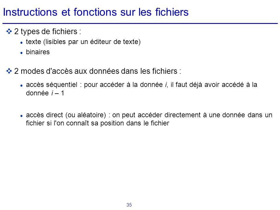 Instructions et fonctions sur les fichiers