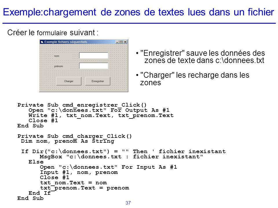 Exemple:chargement de zones de textes lues dans un fichier