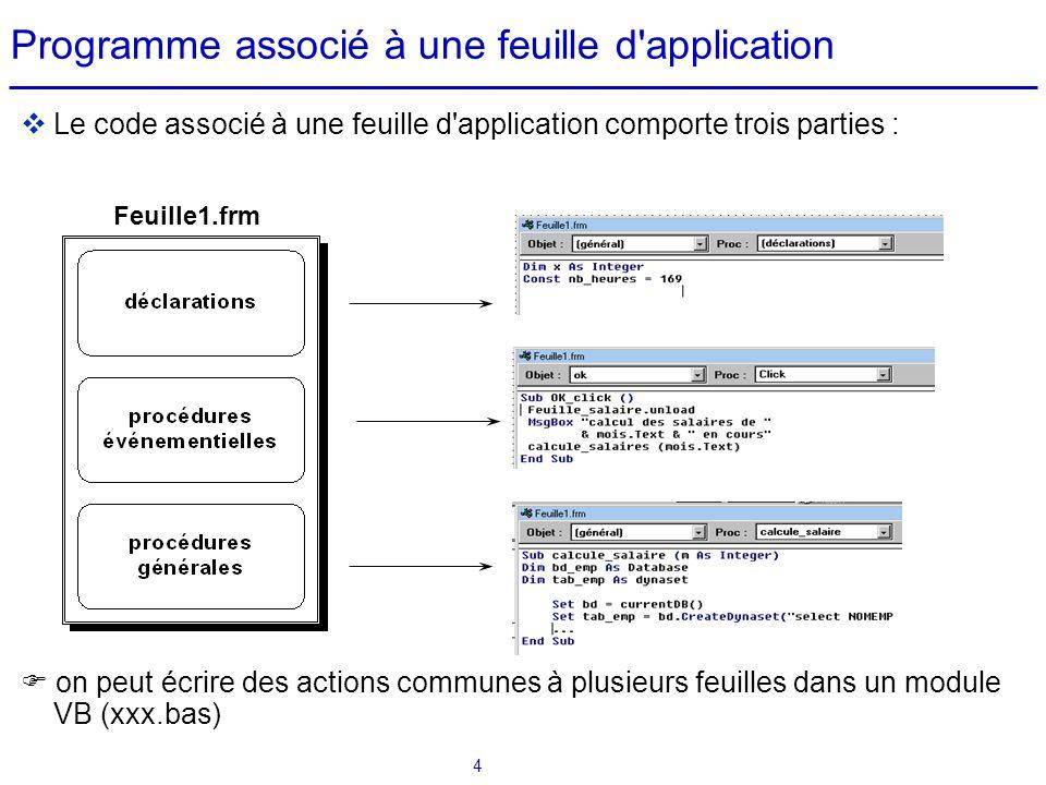 Programme associé à une feuille d application