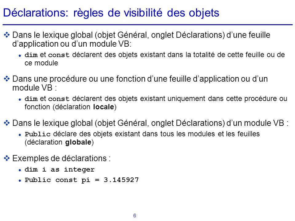 Déclarations: règles de visibilité des objets