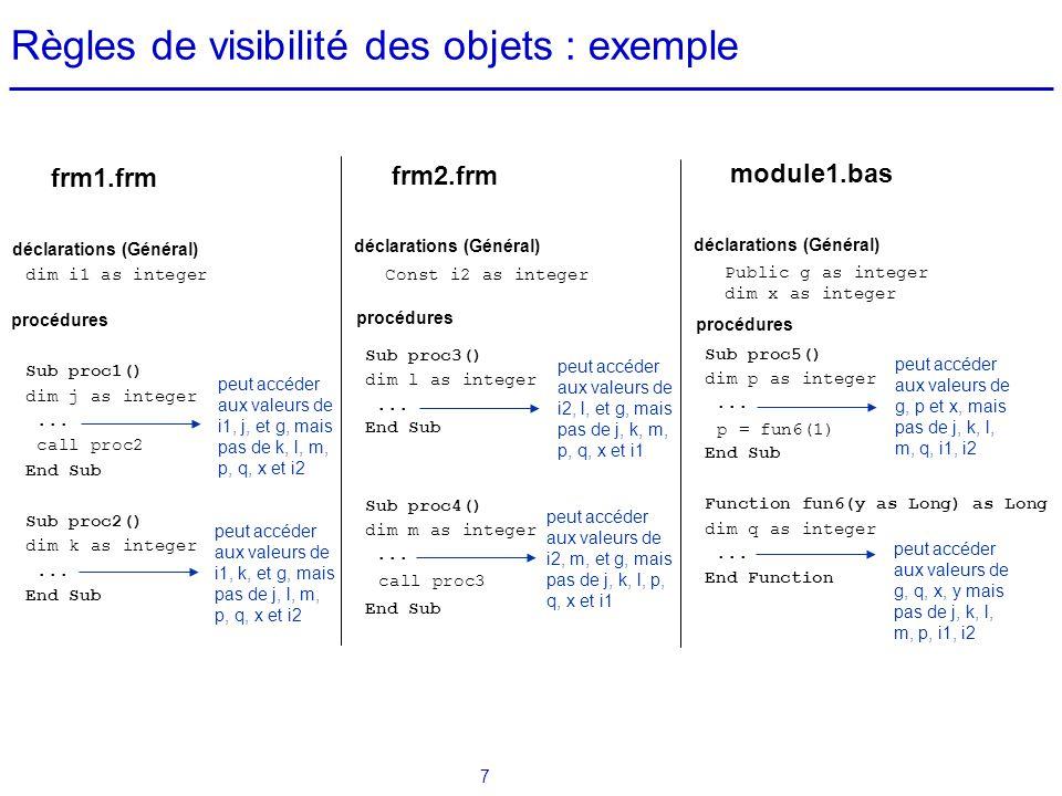 Règles de visibilité des objets : exemple
