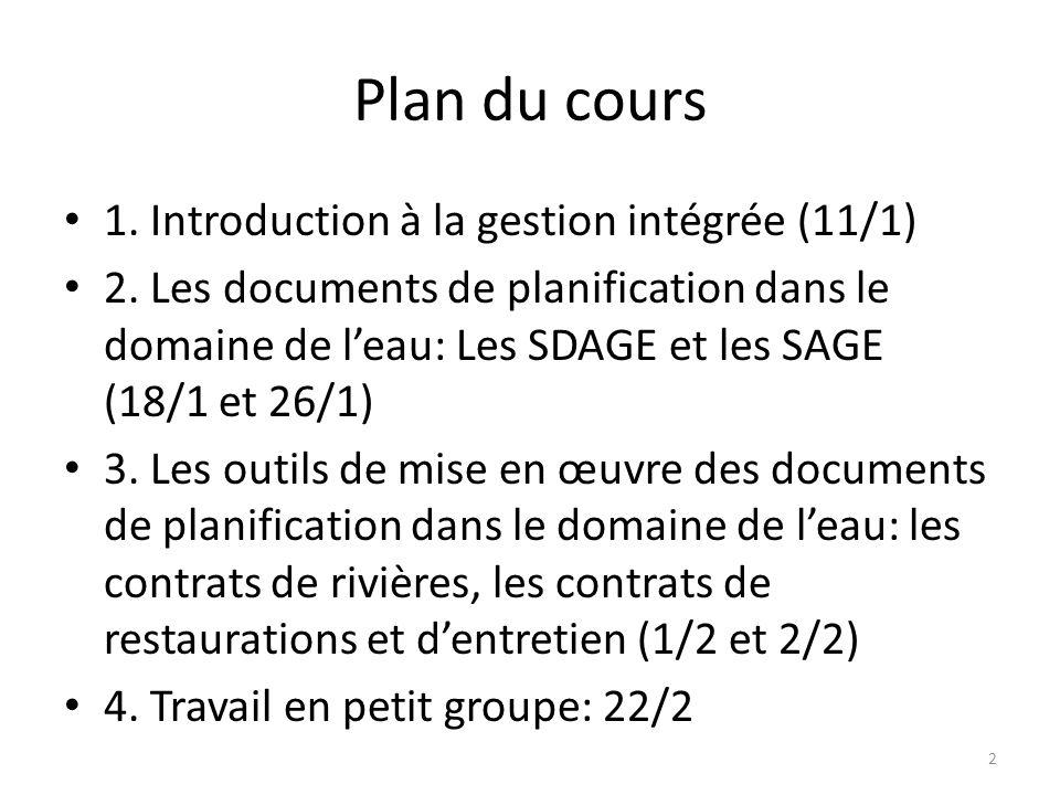 Plan du cours 1. Introduction à la gestion intégrée (11/1)