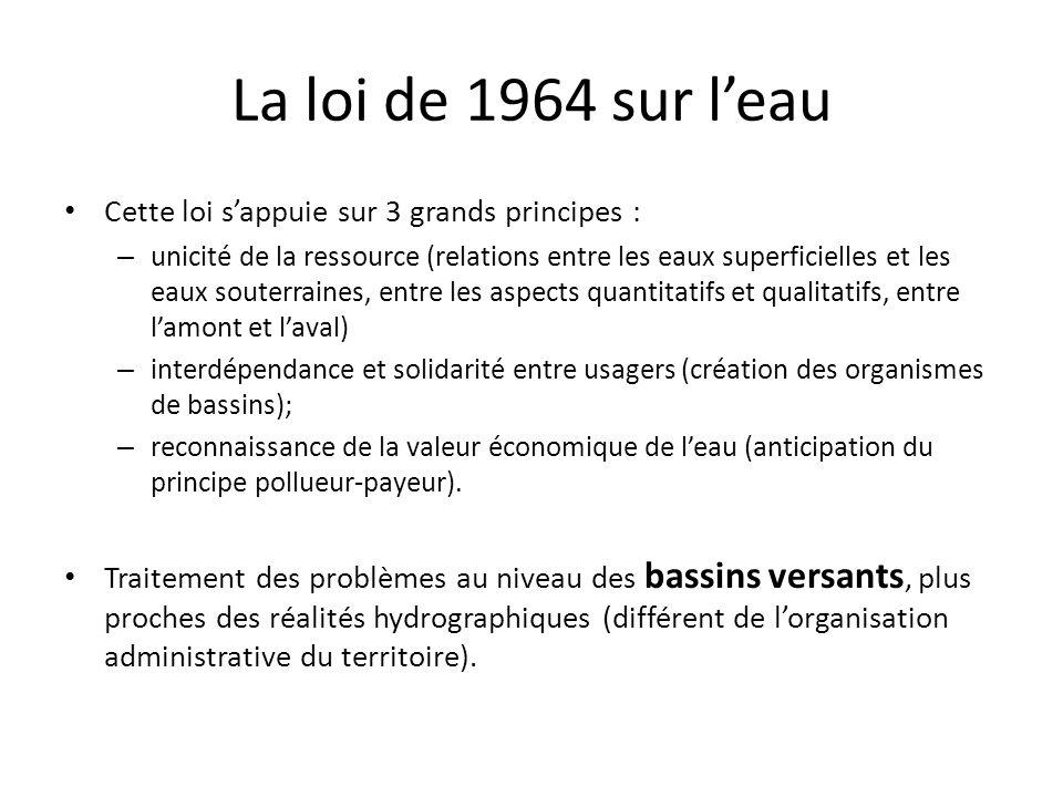 La loi de 1964 sur l'eau Cette loi s'appuie sur 3 grands principes :