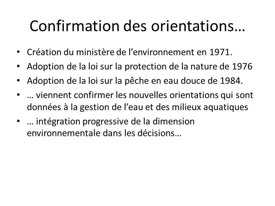 Confirmation des orientations…