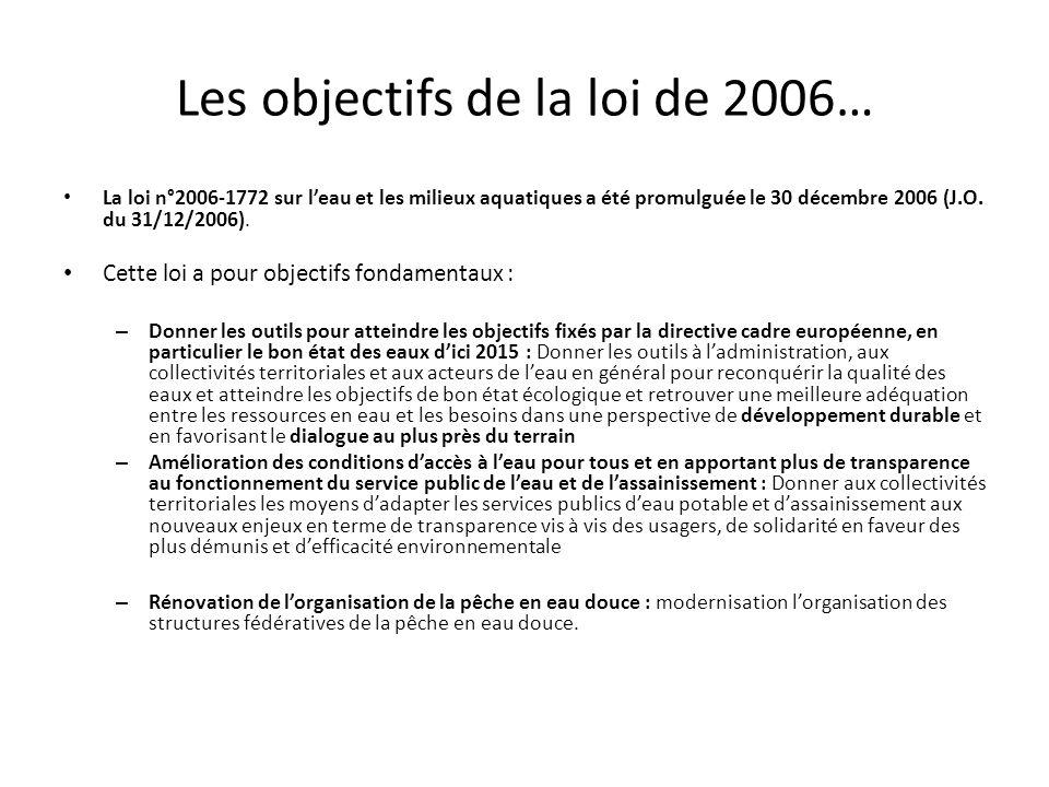 Les objectifs de la loi de 2006…
