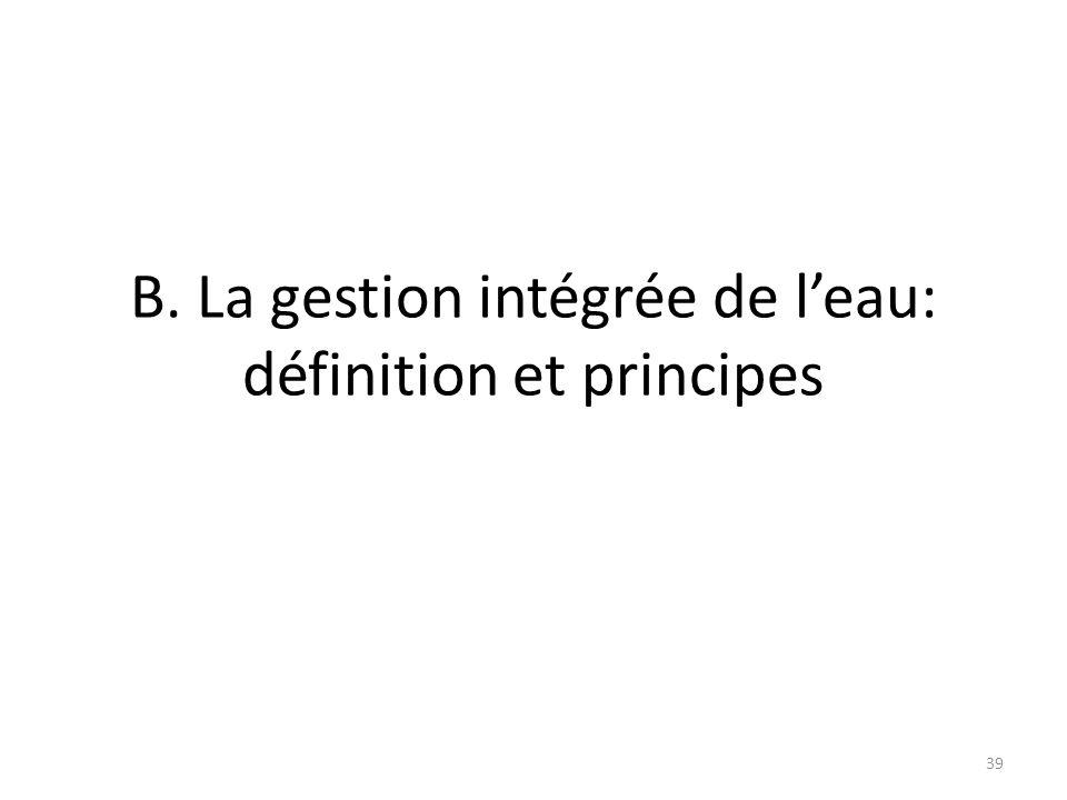 B. La gestion intégrée de l'eau: définition et principes