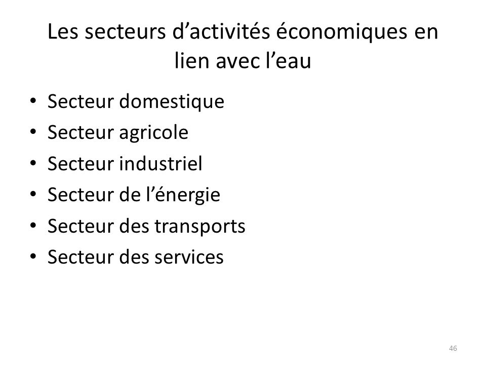 Les secteurs d'activités économiques en lien avec l'eau