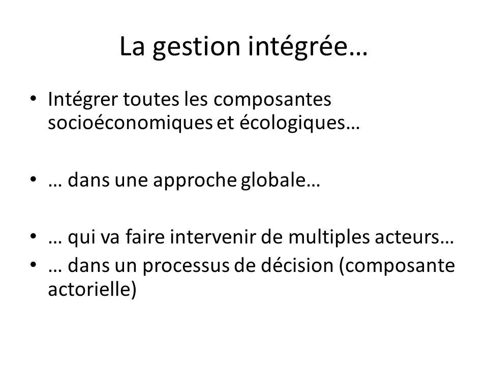 La gestion intégrée… Intégrer toutes les composantes socioéconomiques et écologiques… … dans une approche globale…