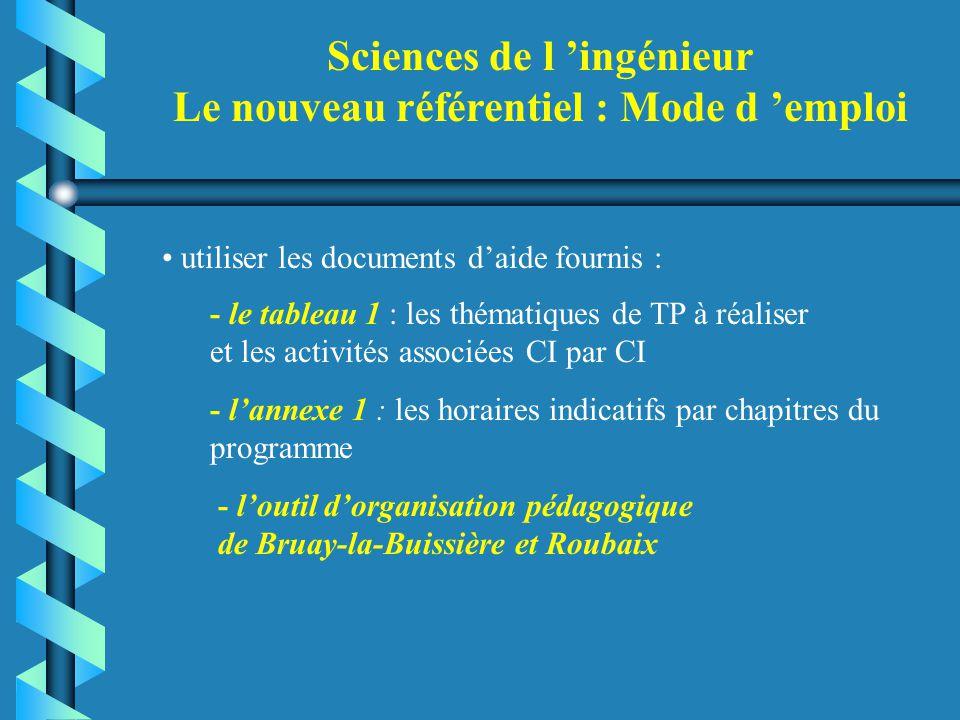 Sciences de l 'ingénieur Le nouveau référentiel : Mode d 'emploi